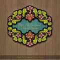 Banner from abstract shiny flowers and leaves of peony on wood background