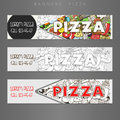 Banner advertisement pizza design vector banners ads hand drawn title colorful illustration Royalty Free Stock Photo