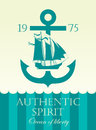 Banner with anchor and sailing boat Royalty Free Stock Photo
