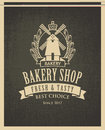 Banner for bakery shop with mill and ears Royalty Free Stock Photo