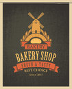 Banner for bakery shop with mill, loaf and ears Royalty Free Stock Photo