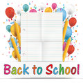 Banner Balloons Letters Folded Lined Paper Back To School Royalty Free Stock Photo