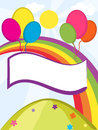 Banner balloons with on rainbow background Royalty Free Stock Image