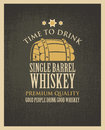 Banner with a barrel of whiskey in retro style