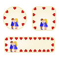 Banner and buttons Valentines day figure Kids vector