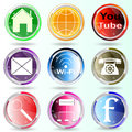 Banner buttons web icons social media colorful Stock Images