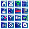 Banner buttons web icons social media colorful Royalty Free Stock Photo