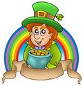 Banner with cartoon leprechaun Stock Photography