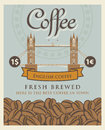 Banner with coffee beans and London tower bridge