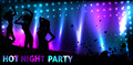 Banner with dance party template for disco silhouettes of dancing people and grunge elements Royalty Free Stock Images