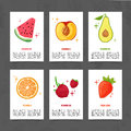 Banner design template with food decoration. Set card with the decor of healthy, juicy fruit. Menu template with space Royalty Free Stock Photo