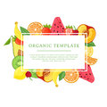 Banner design template with fruit decoration. Rectangular frame with the decor of healthy, juicy fruit. Card with space