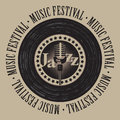 Banner for festival jazz music with microphone