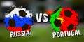 Banner football match Russia vs Portugal