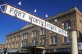 Banner at the fort worth stock yards with historic hotel ft worth tx Royalty Free Stock Photos