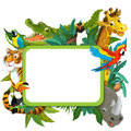 Banner frame border jungle safari theme illustration for the children happy and colorful Stock Photos