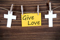 Banner with give love yellow on a line roods Stock Image