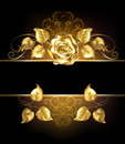 Banner with golden rose Royalty Free Stock Photo