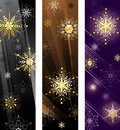 Banner with golden snowflakes Stock Photo