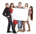 Banner and group of young people. Royalty Free Stock Photo