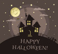 Banner for Halloween Party with haunted house. Royalty Free Stock Photo