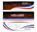 Banner Happy 4th July independence day  with fireworks bacground Royalty Free Stock Photo