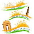 Banner and header for india celebration illustration of set of colorful with monument Stock Photography