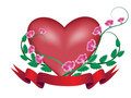 Banner with heart and flower Royalty Free Stock Photo