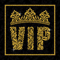 A banner with the inscription VIP and crown of floral patterns.