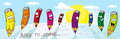 Banner landscape with crayons - back to school - vector