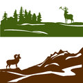 Banner with the mountain landscape and forest, silhouette Royalty Free Stock Photo