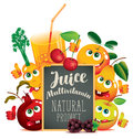Banner for multivitamin juice with funny fruits Royalty Free Stock Photo