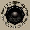 Banner for music festival with acoustic speaker