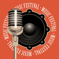 Banner music festival with microphone and speaker
