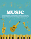 Banner with musical instruments piano, saxophone. guitar