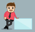 With banner office and business people cartoon character vector illustration concept drawing art of young businessman standing Stock Image