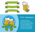 Banner for oktoberfest or beer festival. Design elements - cups with beer, cone hop, ribbons Royalty Free Stock Photo