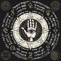 Banner with open hand with all seeing eye symbol Royalty Free Stock Photo
