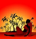 Banner with palms and African girl Royalty Free Stock Images