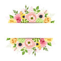 Banner with pink, orange and yellow flowers. Vector background. Royalty Free Stock Photo