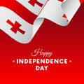Banner or poster of Georgia independence day celebration. Waving flag. Vector.