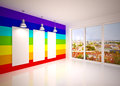 Banner on in rainbow colors wall with lamps lounge room city view Royalty Free Stock Photography