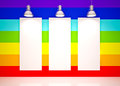 Banner on in rainbow colors wall with lamps lounge room city view Stock Photos