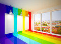Banner on in rainbow colors wall with lamps lounge room city view Stock Photography