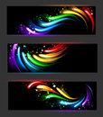 Banner with rainbow pattern three horizontal banners abstract glowing on a black background Royalty Free Stock Photography