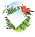 Banner with red tropical bird Royalty Free Stock Photography