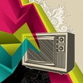 Banner with retro tv. Royalty Free Stock Image
