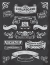 Banner and ribbon design on a black background collection of banners ribbons in vintage retro style chalkboard blackboard label Royalty Free Stock Image