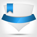 Banner with ribbons blank paper blue ribbon Stock Photo