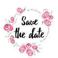 Banner Save the date made on ink hand lettering with abstract flowers. Roses frame around text. Design element for wedding card or Royalty Free Stock Photo